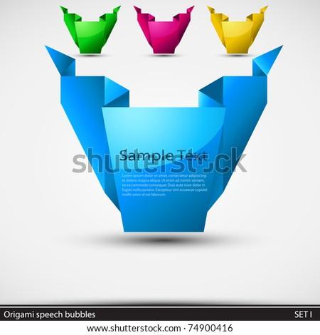 Origami speech bubbles. Vector illustration.
