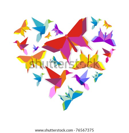 Origami spring butterfly and bird group in vivid color palette in heart shape.