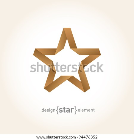 Origami Star from old paper on gradient background. Company Logo template