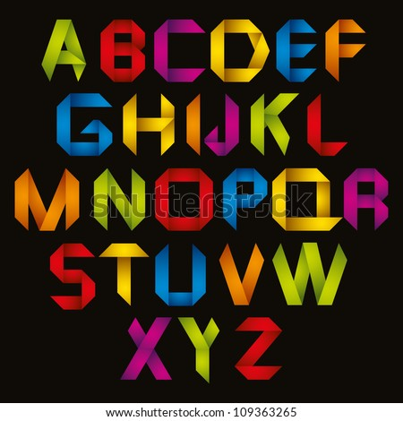 Origami style alphabet, vector letters type set. - stock vector