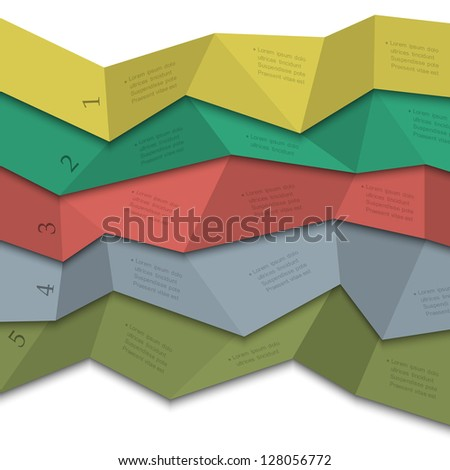 Origami style - creative design template for infographics,numbered banners,website layout. Vector EPS10