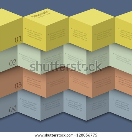Origami style - design template for infographics,numbered banners,website layout. Vector EPS10