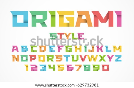 Origami style font. Alphabet and numbers, vector illustration