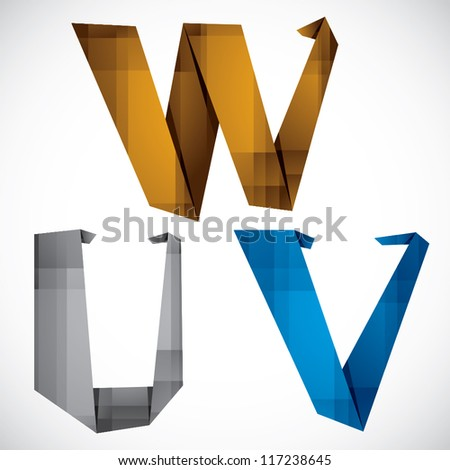 Origami style font, colorful vector letters U V W.