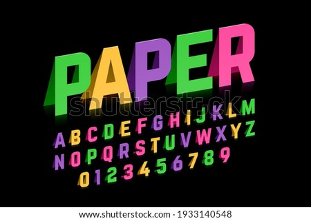 Origami style font design, paper folding alphabet, letters and numbers vector illustration