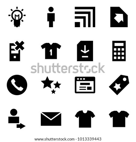 Origami style icon set - bulb vector, man, rss, upload document, disable server, shirt, download, calculator, phone, stars, internet store, star label, user login, mail, t