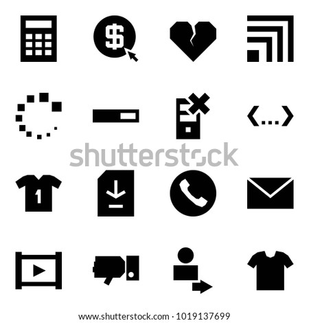 Origami style icon set - calculator vector, mining, broken heart, rss, loading, disable server, code, shirt, document download, phone, mail, video, dislike, user login, t