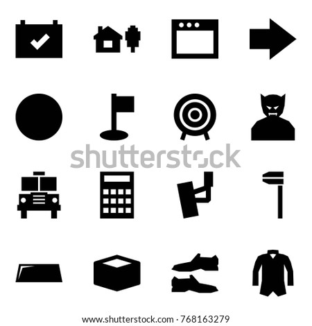 Origami style icon set - calendar check vector, home and tree, window, forward, ball, golf hole, target, vampire, school bus, calculator, front suspension, caliper, windshield, box, shoes, jacket