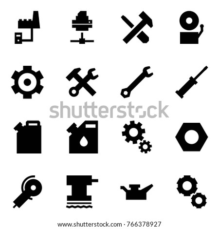 Origami style icon set - factory server vector, printer, screwdriver cross hammer, bell, gear, wrench, canister, drop, gears, nut, angle grinding machine, grinder, oil