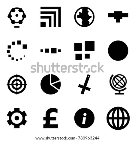 Origami style icon set - ferris wheel vector, rss, earth, connection, loading, ball, target, circle diagram, inverted crucifix, globe, gear, pound, information