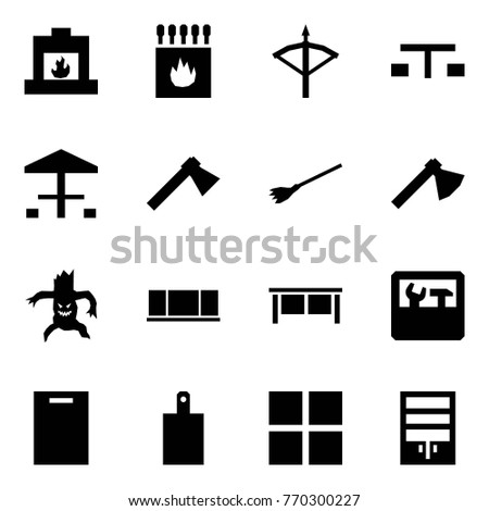 Origami style icon set - fireplace vector, matches, crossbow, picnic, camping, axe, broom, monster, blackboard, desk, repair, cutting board, group purchase, wardrobe