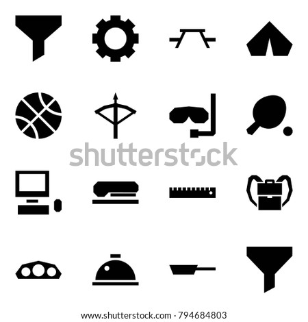 Origami style icon set - funnel vector, gear, picnic table, tent, basketball, crossbow, diving, ping pong, pc, stapler, ruler, back pack, dashboard, dish hood, pan