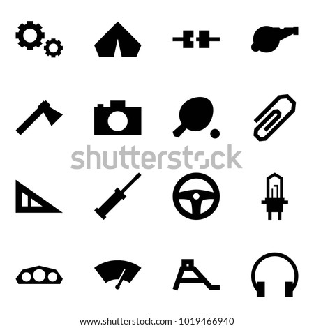 Origami style icon set - gears vector, tent, connect, whistle, axe, camera, ping pong, clip, angle ruler, screwdriver, steering wheel, car bulb, dashboard, wiper, children slide, headphones