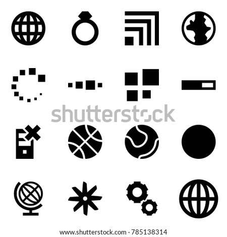 Origami style icon set - globe vector, diamond ring, rss, earth, loading, disable server, basketball, tennis, ball, fan, gear