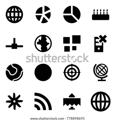 Origami style icon set - globe vector, graph, diagram, cake, connect, earth, loading, disable server, tennis, ball, target, fan, rss, restaurant