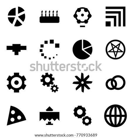 Origami style icon set - graph vector, cake, ferris wheel, rss, connection, loading, circle diagram, pentagram, gear, gears, fan, rings, pizza, restaurant, globe