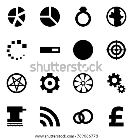 Origami style icon set - graph vector, diagram, diamond ring, earth, loading, ball, target, pentagram, gear, wheel disk, gears, grinder, rss, rings, pound