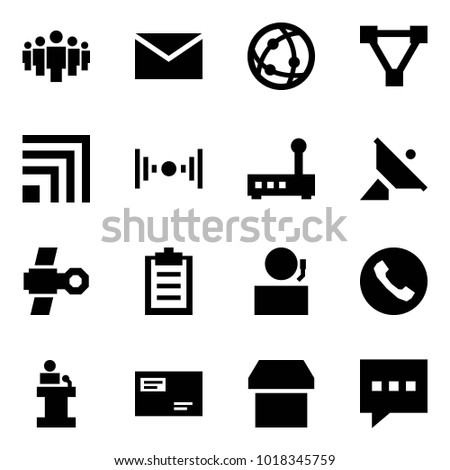Origami style icon set - group vector, mail, network, triangle, rss, wireless, router, satellite antenna, clipboard, receptionist, phone, speech, envelope, box, message
