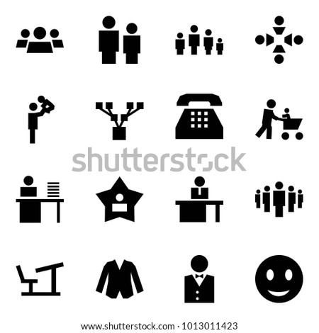 Origami style icon set - group vector, man and child, family, friendship, father playing with son, tree, phone, baby cart, manager, best, manger, desk, jacket, waiter, smile