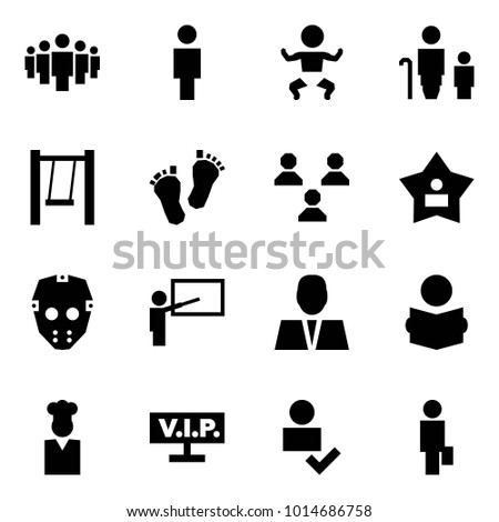 Origami style icon set - group vector, man, baby, grandmother and grandson, swing, feet, best, mask, teacher, reading, cook, vip, user check, consumer
