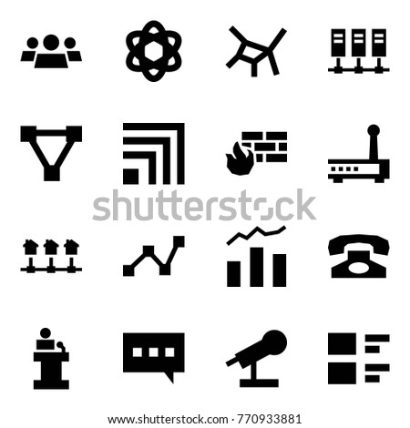 Origami style icon set - group vector, network, servers, triangle, rss, firewall, router, local, statistics, phone, speech, chat, microphone, feedback