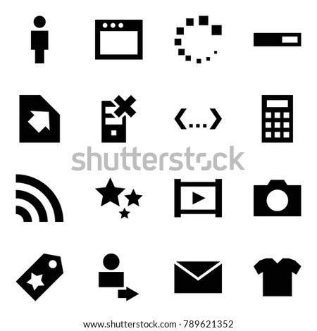 Origami style icon set - man vector, window, loading, upload document, disable server, code, calculator, rss, stars, video, photo, star label, user login, mail, t shirt