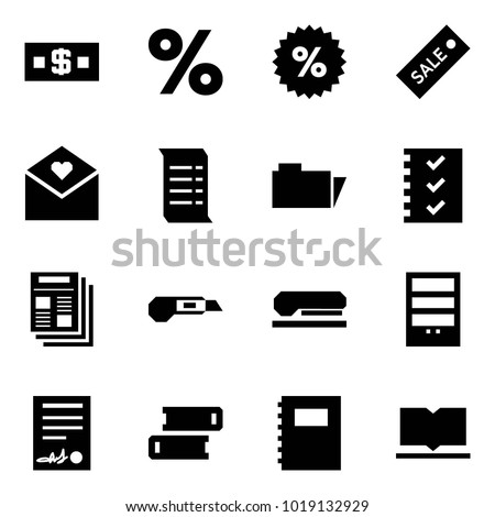 Origami style icon set - money vector, percent, sale label, love letter, history, folder, check list, news, cutter, stapler, bookcase, agreement, books, copybook, book