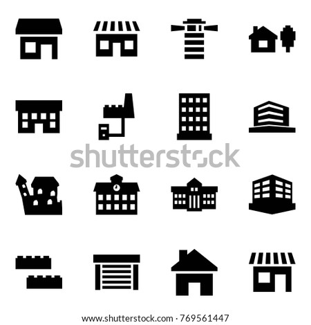 Origami style icon set - store vector, shop, lighthouse, home and tree, house, factory server, hotel, office, castle, school, university, building, blocks, garage