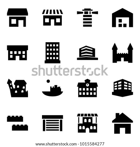 Origami style icon set - store vector, shop, lighthouse, warehouse, house, hotel, office, mansion, castle, school, building, blocks, garage, restaurant