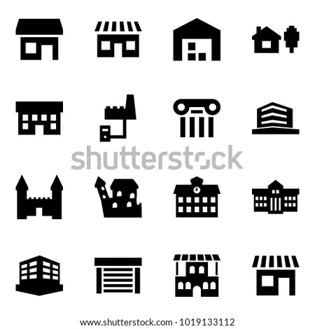 Origami style icon set - store vector, shop, warehouse, home and tree, house, factory server, excursion, office, mansion, castle, school, university, building, garage, restaurant