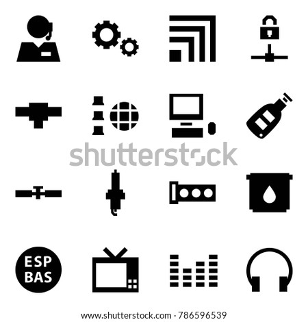 Origami style icon set - support vector, gears, rss, locked connect, connection, network, pc, car key, cardan shaft, spark plug, gasket, oil filter, ESP, tv, equalizer, headphones
