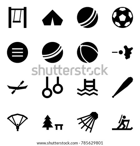 Origami style icon set - swing vector, tent, ball, soccer, volleyball, paintball, canoe, rings, pool, bat, paraplane, camping sign, shuttlecock, biathlon