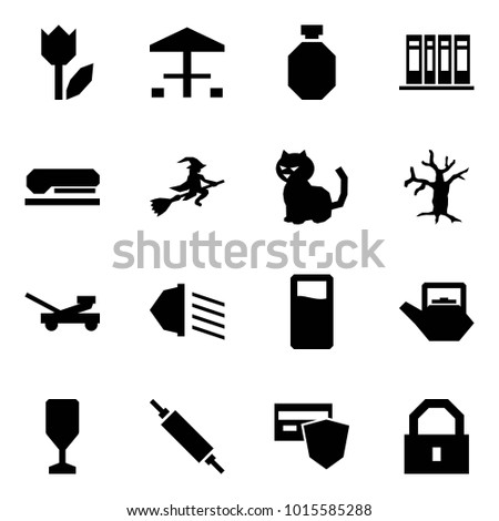 Origami style icon set - tulip vector, camping, flask, books, stapler, witch, cat, dead tree, jack, low beam, drink, kettle, wine glass, rolling pin, safe payment, lock