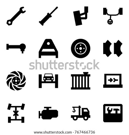 Origami style icon set - wrench vector, screwdriver, front suspension, steering rack, spherical bearing, arm, brake disk, pads, lift, radiator, diagnostics, differential, engine, wrecker, repair