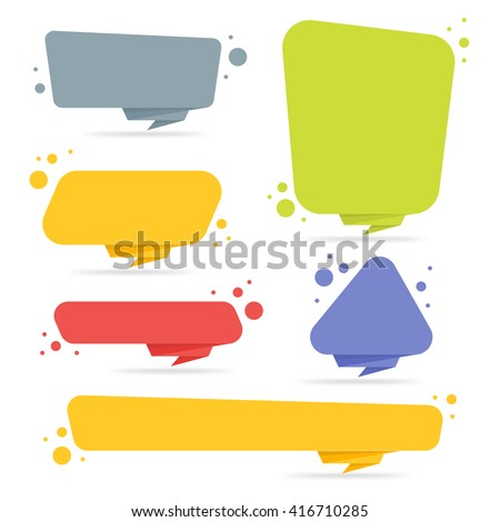 Origami style sticker and banner template. Isolated on white background. Blank for your text, Web site and project. Stickers design template. Colorful origami banners set