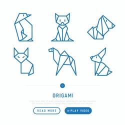 Origami thin line icons set: penguin, fox, camel, dog, cat, hare. Modern vector illustration for creative workshop.