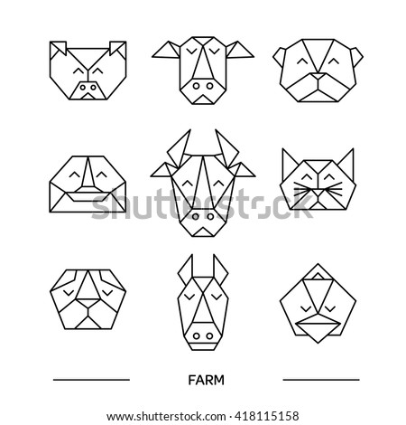 Origami vector animals set. Animal triangle heads. Vector origami animals. Geometric line design icon set. Vector origami animals for tattoo or coloring book. Vector origami farm animals collection.