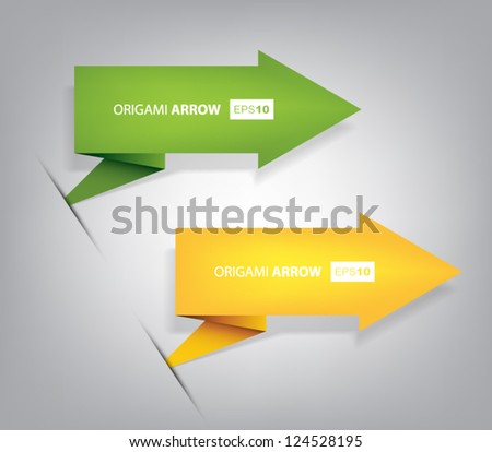 Origami vector arrows set with shadows