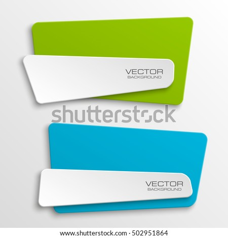 Origami vector banner. The original form as two form, overlapping. The flat image. Advertising Design shape. Vector label tag. #502951864