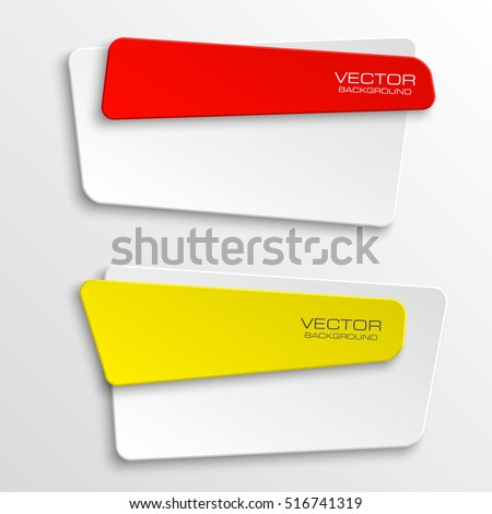 Origami vector banner. The original form as two form, overlapping. The flat image. Advertising Design shape. Vector label tag.