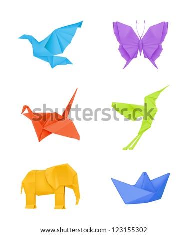 Origami vector set, multicolored