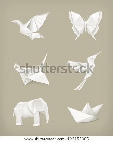 Origami vector set, white
