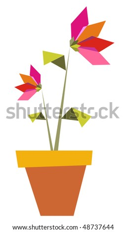 Origami vibrant colors flowers in a pot. Vector file available. - stock vector