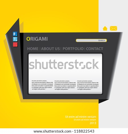 origami website template design. vector origami style site.