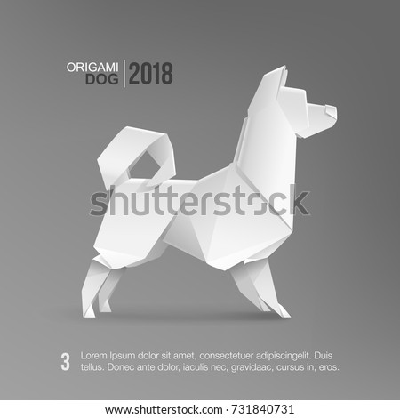 Origami White Husky Dog vector template isolated from grey. Realistic 3D Paper Pet Dog template. Geometric style Dog icon, symbol of the 2018 Chinese New Year