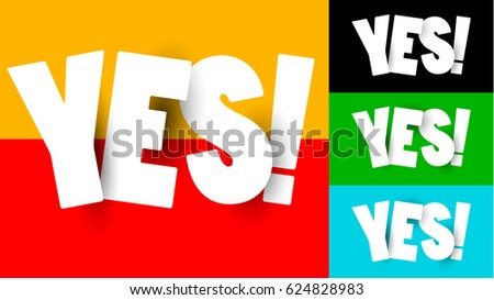 Origami Yes Word Isolated on Different Backgrounds. Choice, Approval & Agreement Concept. Vector Set