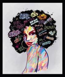 Original abstract art contemporary digital painting portrait of an afro american woman  face,  perfect for interior design, page decoration, web and other: vector illustration