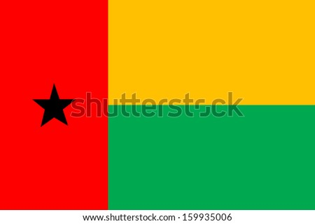 original and simple Guinea Bissau flag isolated vector in official colors and Proportion Correctly