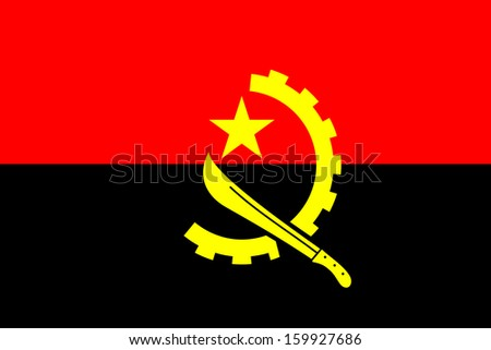 original and simple of the Angola flag isolated vector in official colors and Proportion Correctly - stock vector
