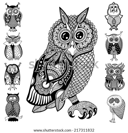original artwork of owl  ink